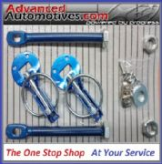 Competition Blue Anodised Bonnet Boot Pins Fastener Sliding Alloy Plate Kit
